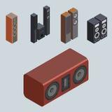 Technologie acoustique stéréo d'équipement de subwoofer de joueur de haut-parleurs de musique du vecteur 3d de système de son iso Images libres de droits