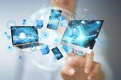 Technologie-apparaten aan elkaar door onderneemster 3D renderi die worden aangesloten Royalty-vrije Stock Foto