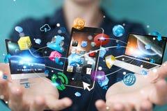 Technologie-apparaten aan elkaar door onderneemster 3D renderi die worden aangesloten Stock Foto