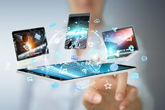 Technologie-apparaten aan elkaar door onderneemster 3D renderi die worden aangesloten Stock Foto's
