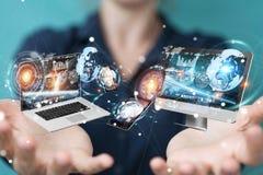 Technologie-apparaten aan elkaar door onderneemster 3D renderi die worden aangesloten Stock Afbeelding