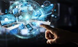 Technologie-apparaten aan elkaar door zakenman die 3D terug te geven worden aangesloten Stock Foto's
