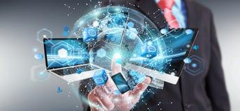 Technologie-apparaten aan elkaar door zakenman die 3D terug te geven worden aangesloten Stock Afbeelding