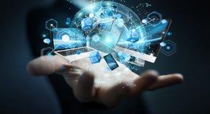 Technologie-apparaten aan elkaar door zakenman die 3D terug te geven worden aangesloten Royalty-vrije Stock Fotografie