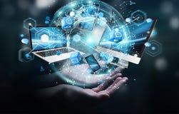 Technologie-apparaten aan elkaar door zakenman die 3D terug te geven worden aangesloten Stock Fotografie
