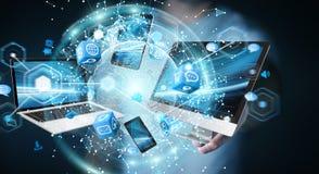 Technologie-apparaten aan elkaar door zakenman die 3D terug te geven worden aangesloten Royalty-vrije Stock Afbeeldingen