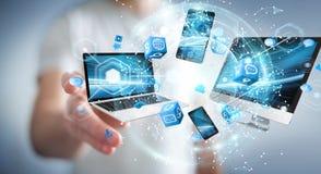 Technologie-apparaten aan elkaar door zakenman die 3D terug te geven worden aangesloten Royalty-vrije Stock Foto
