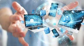 Technologie-apparaten aan elkaar door zakenman die 3D terug te geven worden aangesloten Stock Afbeeldingen