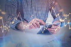 Technologie, argent et concept de finances Photos stock