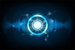Technologie audio sur le fond bleu-foncé Photographie stock libre de droits