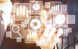 Technologie-, Bildschirm- und infographkonzept Stockbild