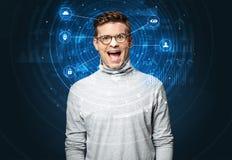 Technologie biométrique de reconnaissance faciale photos stock