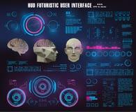 Technologie biométrique de reconnaissance faciale précise de balayage de cerveau Interface utilisateurs graphique virtuelle médic illustration de vecteur