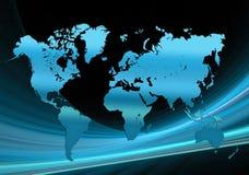 Technologie bleue de carte du monde Photographie stock
