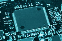 Technologie bleue de puce Photo stock