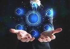 Technologie-Cirkel met zakenman Stock Foto