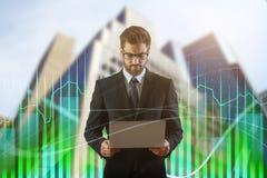 Technologie, communicatie en financiënconcept Stock Afbeelding
