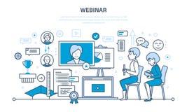 Technologie, communications, en ligne étude, formations, webinars, données et partage d'informations illustration de vecteur