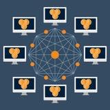 Technologie, Cryptocurrency und Geldüberweisung Blockchain von einem Benutzer zu einem anderen und zur Netzbestätigung Stockbilder