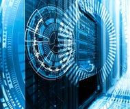 Technologie, cyberspace en virtueel werkelijkheidsconcept - hologram met technologische achtergrond royalty-vrije stock foto's
