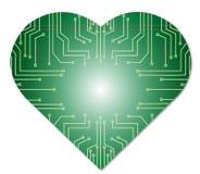 Technologie d'abrégé sur coeur de puce Photos stock