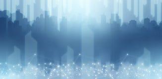Technologie d'abrégé sur illustration dans la vue de grattoir de ciel de ville dans le ton bleu illustration libre de droits