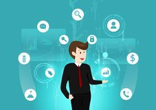 Technologie d'affaires, homme travaillant l'illustration numérique futuriste, de données, d'investissement, de signe et de symbol illustration stock