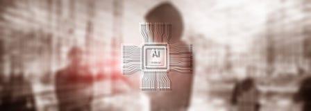 Technologie d'avenir d'intelligence artificielle Fond bleu abstrait brouill? Sc?ne urbaine image stock
