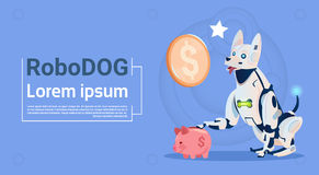 Technologie d'intelligence artificielle moderne animale d'animal familier de robot de chien de Sit With Piggy Bank Online de conc Images stock