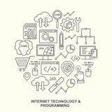Technologie d'Internet et modèle de programmation de forme ronde avec les icônes linéaires Photographie stock