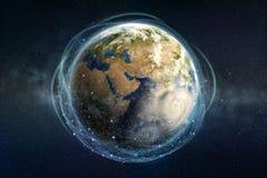 Technologie de Blockchain à l'échelle mondiale Le réseau d'information entoure la planète entière