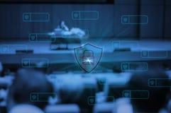 Technologie de Blockchain avec des personnes de sécurité de cyber d'icône rencontrant le groupe de hall de convention, progrès te
