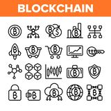Technologie de Blockchain, ensemble linéaire d'icônes de vecteur de Cryptocurrency illustration libre de droits