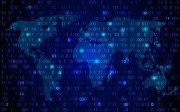 Technologie de carte du monde avec la binaire de décryptage et de chiffrage illustration de vecteur
