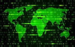 Technologie de carte du monde avec la binaire de décryptage et de chiffrage illustration stock