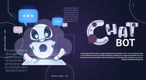 Technologie de Chatbot, broutement robotique utilisant l'aide virtuelle de Tablette de Digital et bannière de calibre de concept  illustration libre de droits