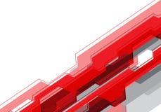 Technologie de circuit grise rouge abstraite de polygone sur le vecteur futuriste moderne de fond de conception blanche d'espace  Photo libre de droits