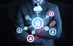 Technologie de connexion de Lock d'homme d'affaires Images libres de droits