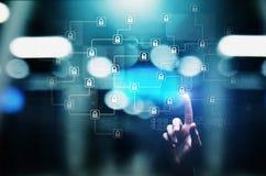 Technologie de cryptographie de Blockchain, fintech et concept d'Internet sur l'écran virtuel illustration libre de droits