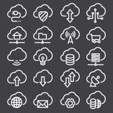 Technologie de données de nuage Ligne mince icônes de Web réglées Collection d'icônes d'ensemble Photographie stock libre de droits