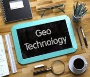 Technologie de Geo manuscrite sur le petit tableau Photographie stock libre de droits