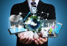 Technologie in de handen Stock Foto