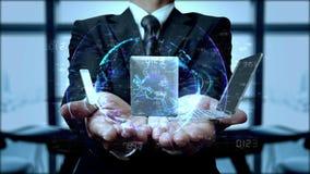 Technologie in de handen van zakenman 4K stock illustratie