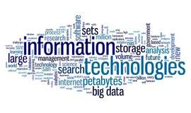 Technologie de l'information en nuage de tags Images libres de droits