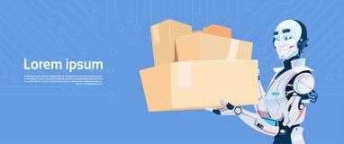 Technologie de mécanisme de Futuristic Artificial Intelligence de messager de la livraison enfermée dans une boîte par prise mode Photo libre de droits