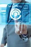 Technologie de main d'homme d'affaires Photo libre de droits