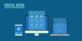 Technologie de media de Digital pour le marketing d'Internet, concept sensible de développement de Web Bannière plate de vecteur  Photos libres de droits