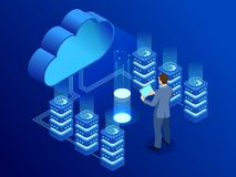 Technologie de nuage et concept modernes isométriques de mise en réseau Affaires de technologie de nuage de Web Vecteur de servic illustration stock