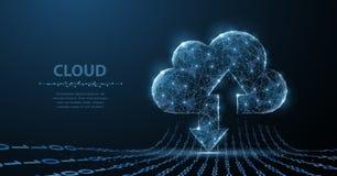 Technologie de nuage L'art polygonal de wireframe ressemble à la constellation Illustration ou fond de concept images stock