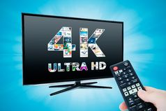technologie de résolution de la télévision 4K Photographie stock libre de droits